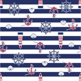 Seamless marine pattern. On striped background. Vector illustration Stock Photo