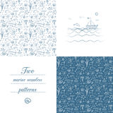 Seamless marine patterns Stock Images