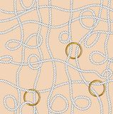 Seamless marine rope knot pattern. Endless illustration with white rope ornament and nautical knots. On Beige  color background. Ready for textile fabric prints stock illustration