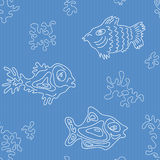 Seamless Marine Vector Pattern with fish. And algae Stock Images
