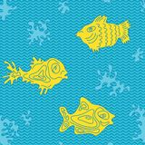 Seamless Marine Vector Pattern with fish Royalty Free Stock Photography