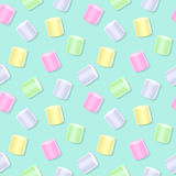 Seamless marshmallow pattern - green back. Sweet food background Stock Photography