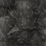 Seamless math physics formulas on chalkboard Royalty Free Stock Images