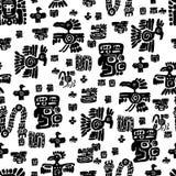 Seamless maya pattern. Black and white ethnic elements. Royalty Free Stock Image