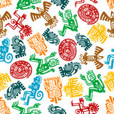 Seamless mayan and aztec pattern of animal totems. Ancient animal and bird totems of maya or aztec background with colorful seamless pattern of monkeys and Stock Image