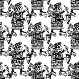 Seamless mayan and aztec totems pattern Stock Photos
