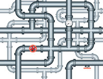 Seamless maze of plumbing pipes Stock Images