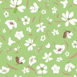 Seamless meadow vector pattern with white flowers scattered on green background royalty free illustration