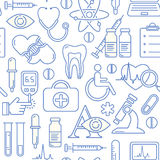 Seamless medical background with line style blue icons on white. Medicine and health design pattern with modern linear symbols. Royalty Free Stock Image
