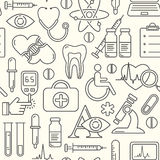Seamless medical background with line style icons on white. Medicine and health design pattern with modern linear symbols. Stock Photo