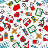 Seamless medical checkup and testing pattern. Seamless medical checkup and health care background with colorful sketchy pattern of medications, syringes Stock Images
