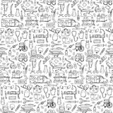 Seamless medical hand drawn doodle pattern. Vector illustration with medical elements for backgrounds, textile prints, covers, wrapping Vector Illustration