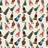 Seamless Medieval people pattern Stock Images