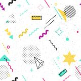 Seamless memphis pattern of geometric elements. Trendy geometric elements memphis card. Seamless memphis pattern for tissue and postcards. Hipster poster, juicy Royalty Free Stock Photography