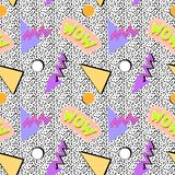 Seamless memphis pattern. Of geometric shapes, and the word wow, triangles, circles, on a background of dots in the style of the 80s stock illustration