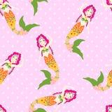 Seamless mermaid pattern vector illustration
