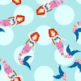 Seamless mermaid pattern Stock Photo