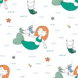 Seamless mermaids pattern Stock Images