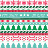 Seamless merry christmas and happy new year pattern vector illustration Royalty Free Stock Photos
