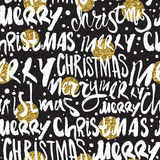 Seamless Merry Christmas pattern. Festive Happy New Year gold glittering lettering design. Vector youth contemporary illustration Royalty Free Stock Photography