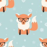 Seamless Merry Christmas patterns with cute hipster fox Royalty Free Stock Photo
