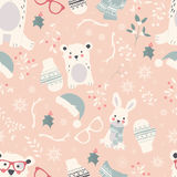 Seamless Merry Christmas patterns with cute polar animals, bears Royalty Free Stock Image