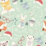 Seamless Merry Christmas patterns with cute polar animals, bears Stock Photos