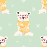 Seamless Merry Christmas patterns with cute polar bear animals Stock Photo