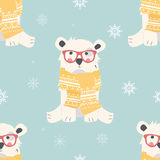 Seamless Merry Christmas patterns with cute polar bear animals Royalty Free Stock Image