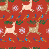 Seamless Merry Christmas reindeers. Royalty Free Stock Images