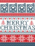 Seamless Merry Christmas Scandinavian fabric style, inspired by Norwegian Christmas, festive winter pattern in cross stitch with g. Ingerbread house, Christmas Royalty Free Stock Photography