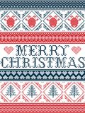 Seamless Merry Christmas Scandinavian fabric style, inspired by Norwegian Christmas, festive winter pattern in cross stitch. With reindeer, Christmas tree Stock Photos