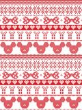 Seamless merry christmas scandinavian fabric style, inspired by Norwegian Christmas, festive winter pattern in cross stitch w. Ith mouse, bow, gift star Royalty Free Stock Image