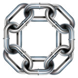 Seamless metal chain link border. Background, or pattern with rounded corners - vector Royalty Free Stock Photos