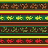 Seamless mexican lizard fabric pattern. In yellow, green and red Stock Images