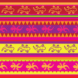 Seamless mexican lizard fabric pattern. In yellow, pink and red Royalty Free Stock Photo