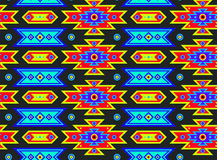 Seamless Mexican Psychedelic Pattern. Neon glow colorful native pattern Stock Photos
