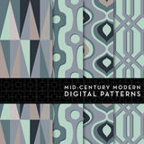 Seamless Mid-Century Modern Digital Pattern - Mint Green, Purple, Pink Royalty Free Stock Image