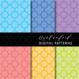 4 Seamless Mid-Century Modern Digital Pattern - Quatrefoil Pastel Colors Stock Photos