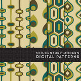 4 Seamless Mid-Century Modern Digital Pattern - Teal, Brown, Olive Green Royalty Free Stock Image
