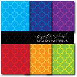 4 Seamless Mid-Century Modern Digital Pattern - Quatrefoil Bold Colors Stock Image
