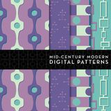 Seamless Mid-Century Modern Digital Pattern - Teal Green and Purple Royalty Free Stock Image