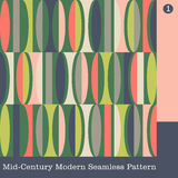 Seamless mid century modern vector pattern stock illustration
