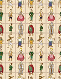 Seamless Middle Ages people pattern Stock Photos
