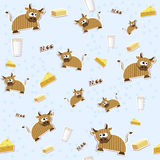 Seamless milk texture. Seamless texture with milk, cheese, cow and butter. Vector illustration EPS8 Stock Photo