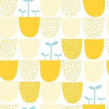 Seamless minimal scandinavian vector pattern with dots and shapes. Stock Image