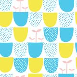 Seamless minimal scandinavian vector pattern with dots and shapes. Stock Images