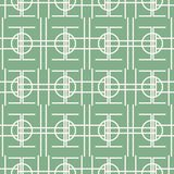 Seamless mint green pattern of multiple bent lines and circles. Seamless abstract geometric pattern of multiple bent lines and circles. Mint green and white Royalty Free Stock Photo