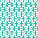 Seamless mint and white medieval diamond pattern vector Stock Images