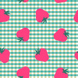 Seamless mint and white with strawberries pattern Royalty Free Stock Image